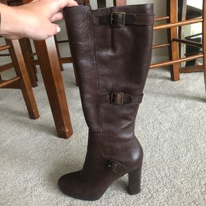 Nine West Dark Brown leather boots 8.5M
